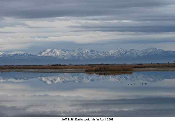 Piute Ponds with Snow Covered Tehachepi Mountains in background, reflected on the water